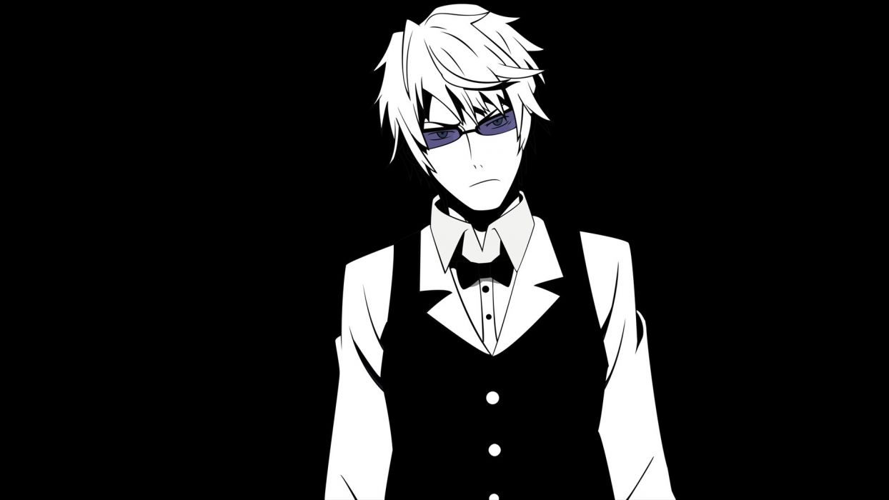 black and white blue eyes sunglasses short hair Durarara!! Heiwajima Shizuo monochrome anime boys bowtie simple background black background wallpaper