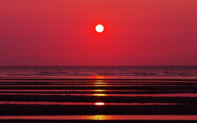 sunset nature Sun silhouettes reflections sea wallpaper