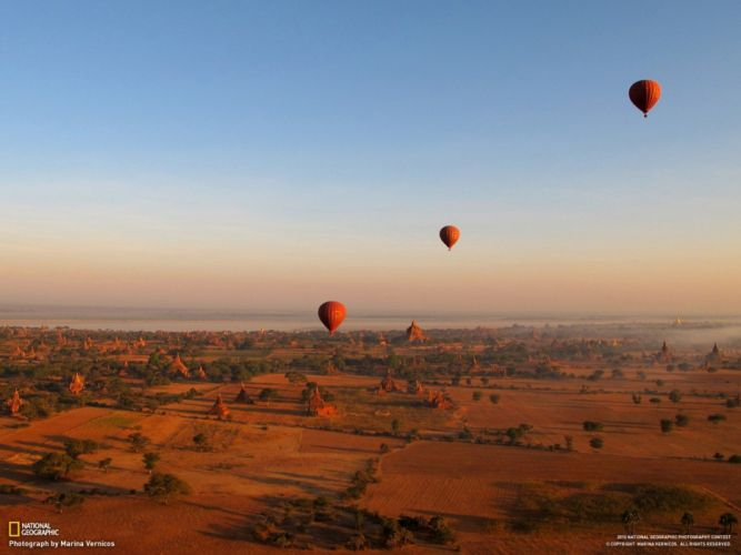 landscapes nature fields National Geographic hot air balloons Myanmar wallpaper