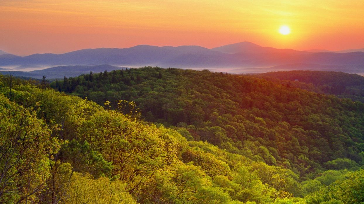 sunrise mountains landscapes forests valleys Wilson North Carolina wallpaper