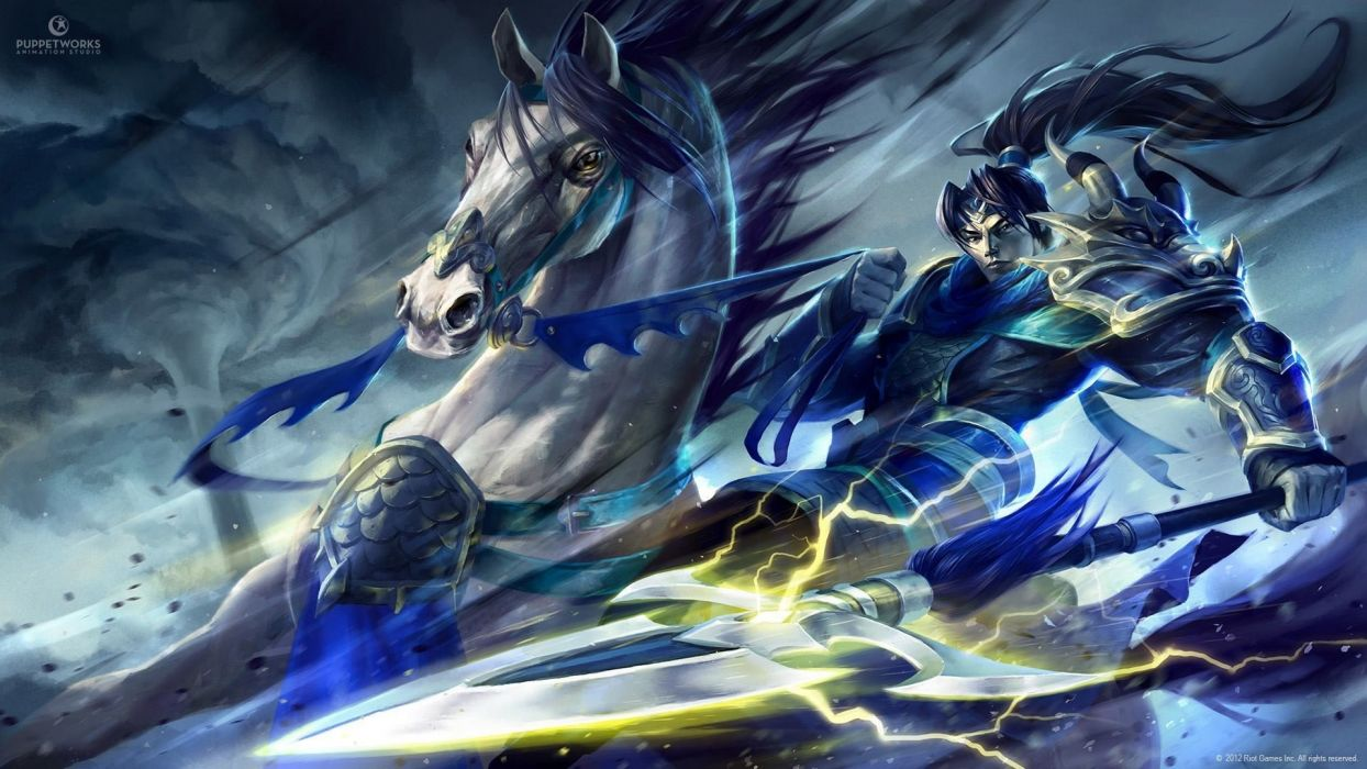 video games blue dragons League of Legends horses skin Xin Zhao wallpaper