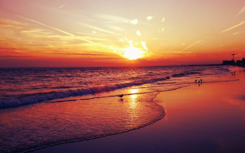 sunset landscapes sea beaches wallpaper