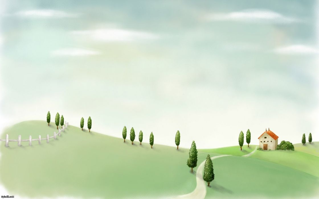 mountains fences houses drawings plains walkway wallpaper