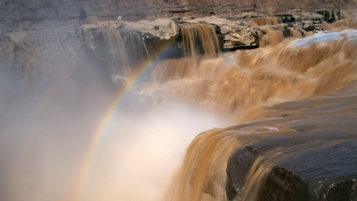 landscapes nature rainbows waterfalls wallpaper