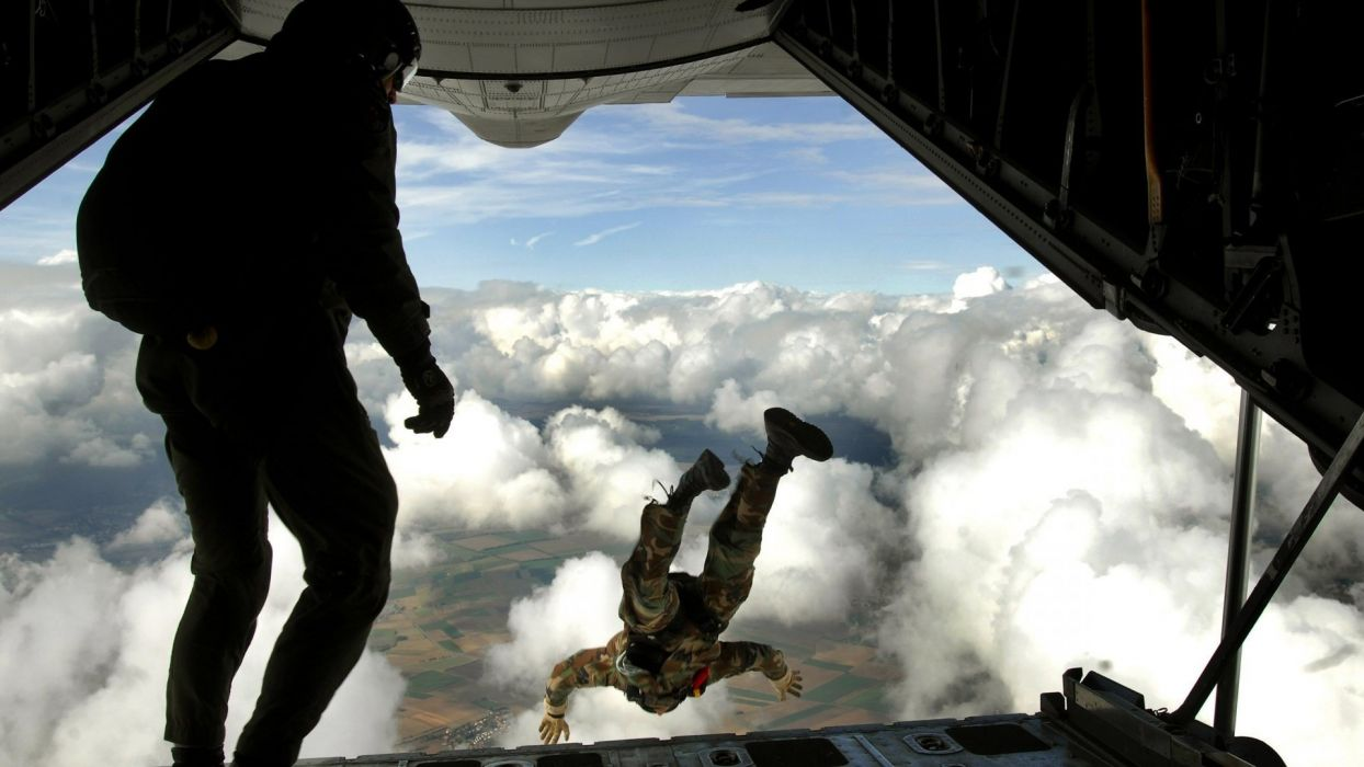 clouds sports jumping skydiving parachute wallpaper
