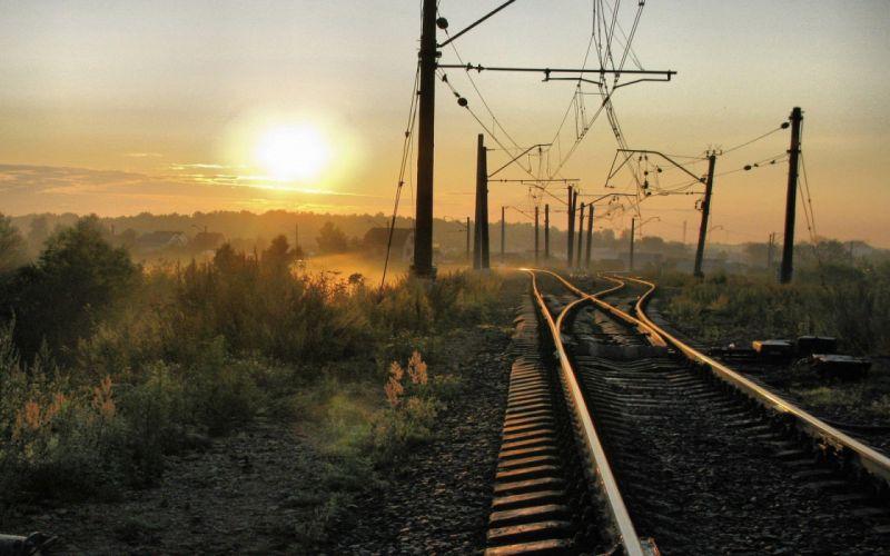 Russia trains railroad tracks power lines vehicles wallpaper