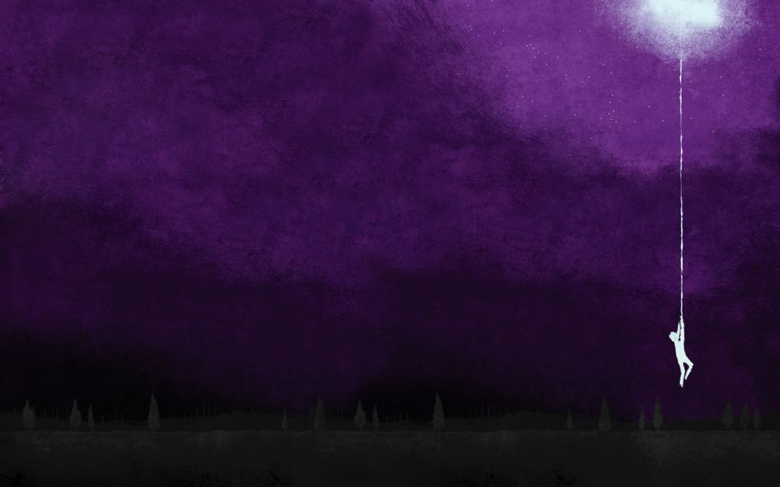 Moon silhouettes hanging artwork album covers purple background August Burns Red wallpaper