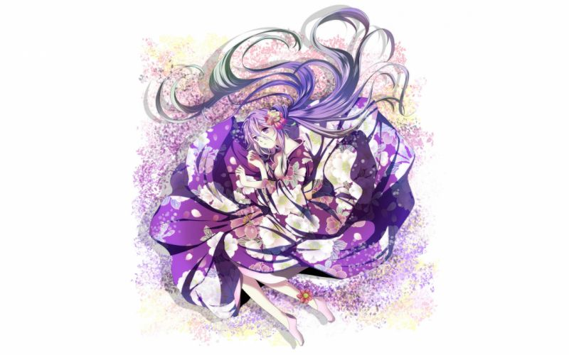 Vocaloid flowers Hatsune Miku long hair socks blue hair purple hair twintails lying down purple eyes flower petals yukata Japanese clothes simple background anime girls bicolored hair white background hair ornaments flower in hair wallpaper