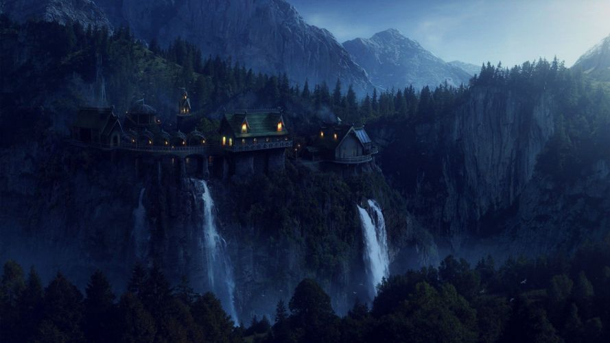 night artwork waterfalls wallpaper