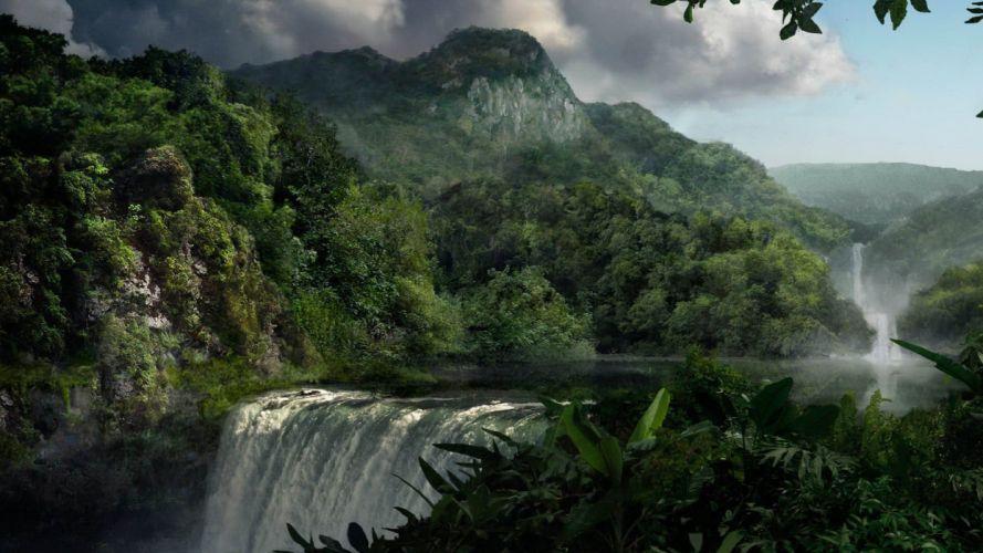 landscapes jungle waterfalls wallpaper