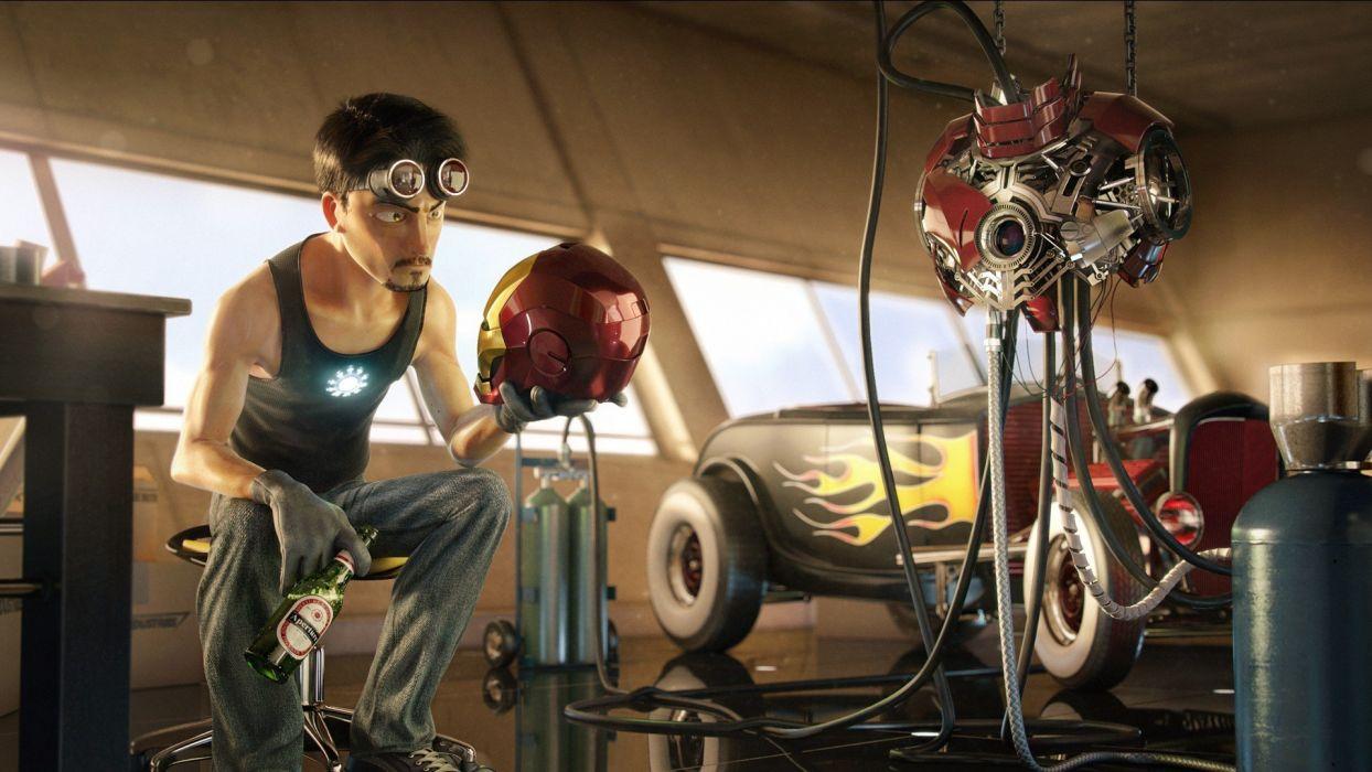 beers Pixar Iron Man armor Tony Stark hotrod Aperture Laboratories caricature 3D renders helmets wallpaper