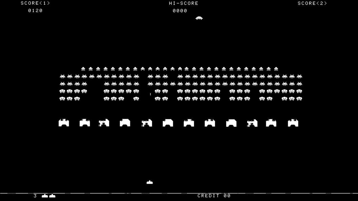 Black And White Space Invaders Retro Games Wallpaper 1920x1080