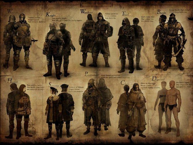 video games knights hunter concept art artwork warriors thief Dark Souls wallpaper