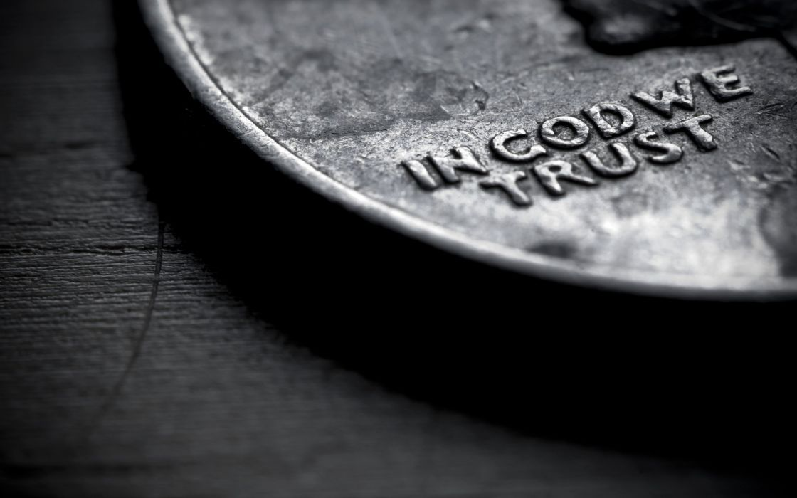 close-up coins money text God trust wallpaper