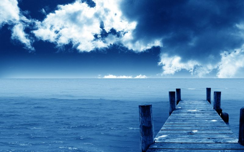blue ocean clouds landscapes nature dock wallpaper