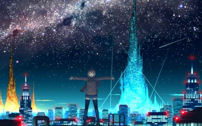 cityscapes stars futuristic skyscrapers city lights anime original characters wallpaper