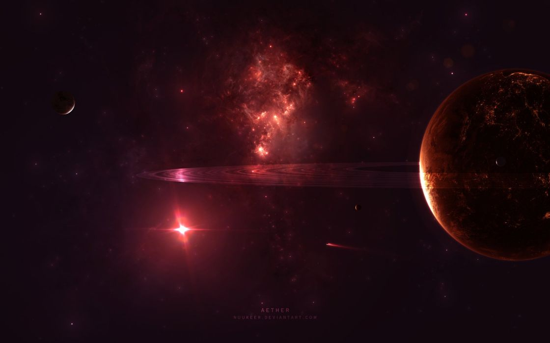 outer space red lights planets nebulae rings DeviantART bright moons wallpaper