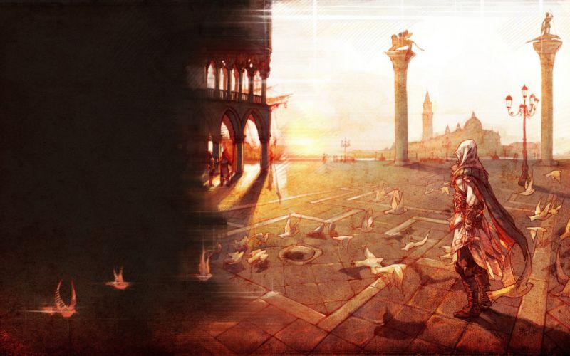 video games Assassins Creed assassins Assassins Creed Brotherhood artwork fan art Ezio Auditore da Firenze roof Game Art wallpaper
