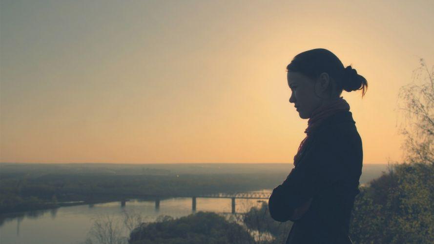 women bridges rivers faces wallpaper