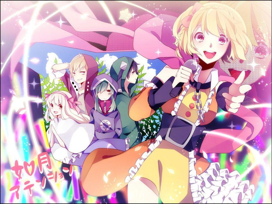 blondes Vocaloid short hair open mouth hazel eyes hair ribbons microphones wallpaper