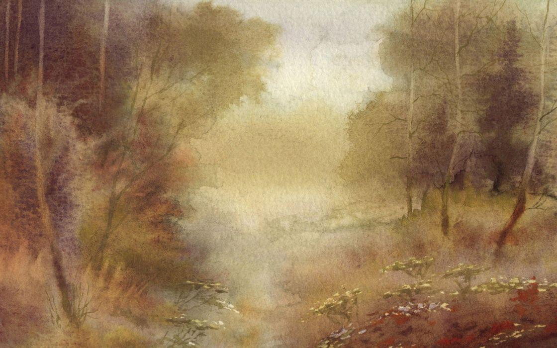 paintings nature artwork watercolor wallpaper