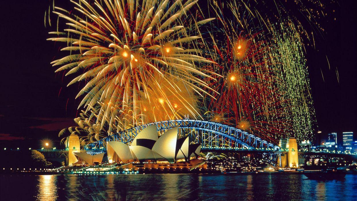 cityscapes fireworks urban Sydney Sydney Opera House wallpaper