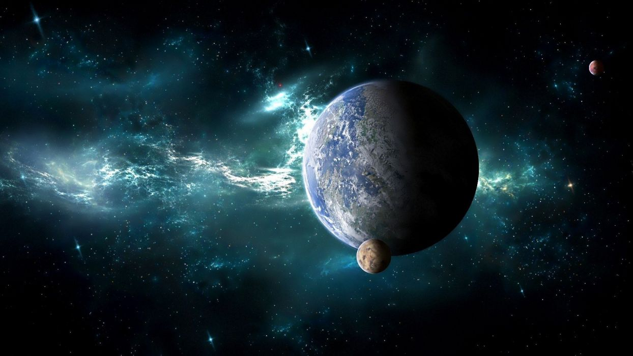 outer space galaxies planets fantasy art artwork wallpaper