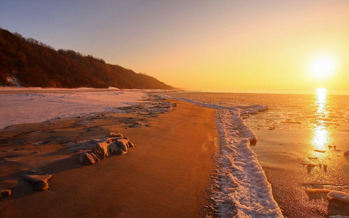 nature Sun shore beaches wallpaper