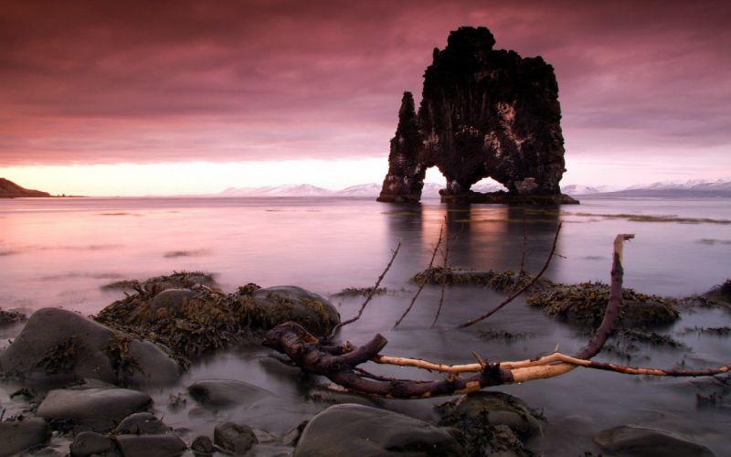 landscapes nature Iceland rock formations wallpaper