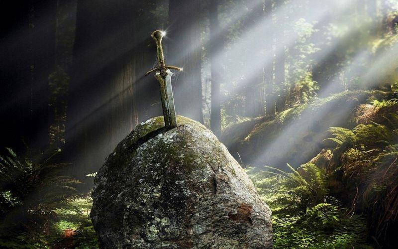 stones Excalibur fantasy art artwork swords wallpaper