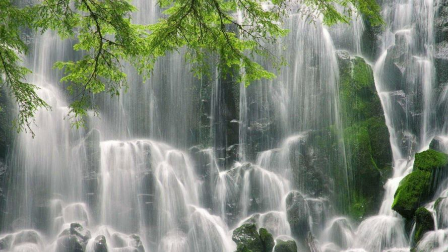 landscapes nature trees waterfalls wallpaper