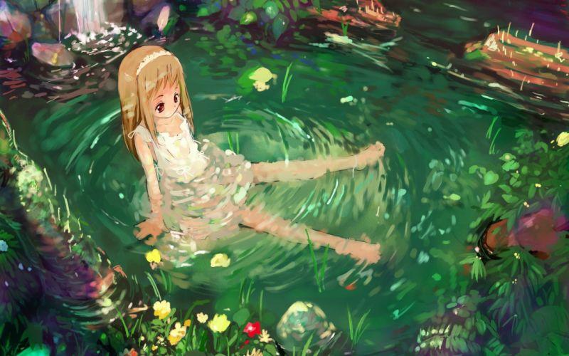 water nature anime girls wallpaper