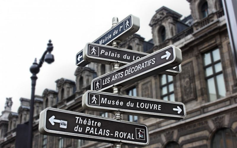 Paris architecture signs roads sign blurred background wallpaper