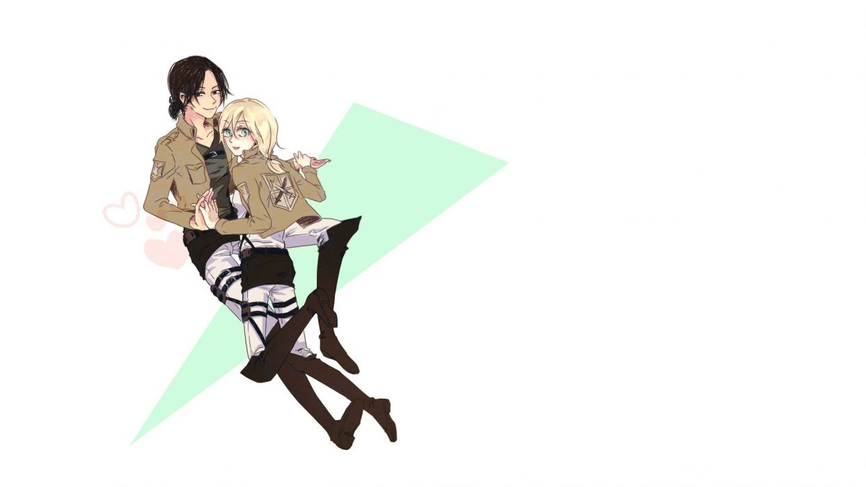 yuri anime simple background anime girls white background Shingeki no Kyojin Christa Renz Ymir (Shingeki no Kyojin) wallpaper