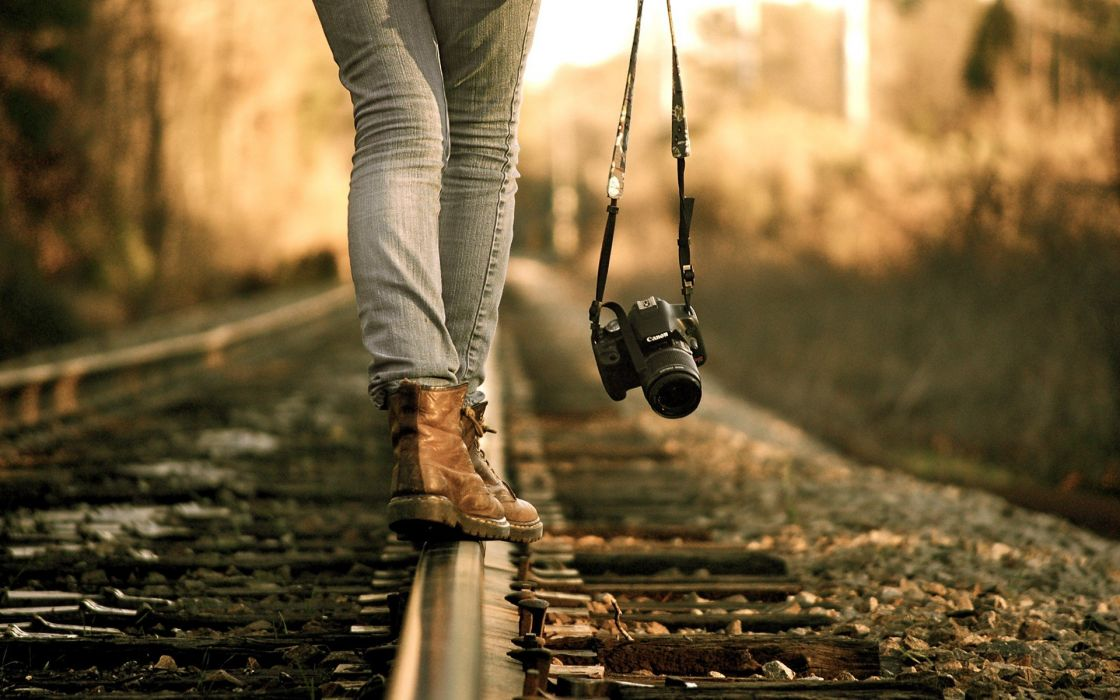 cameras railroad tracks photographers wallpaper
