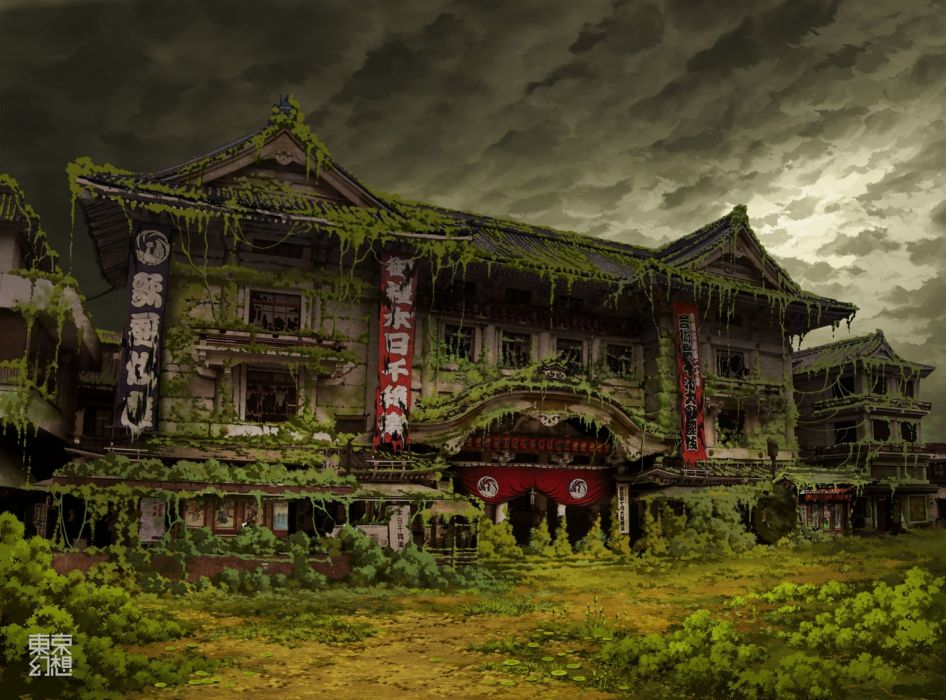 Tokyo ruins post-apocalyptic buildings artwork overcast Asian architecture Ivy theatre abandoned banners TokyoGenso wallpaper