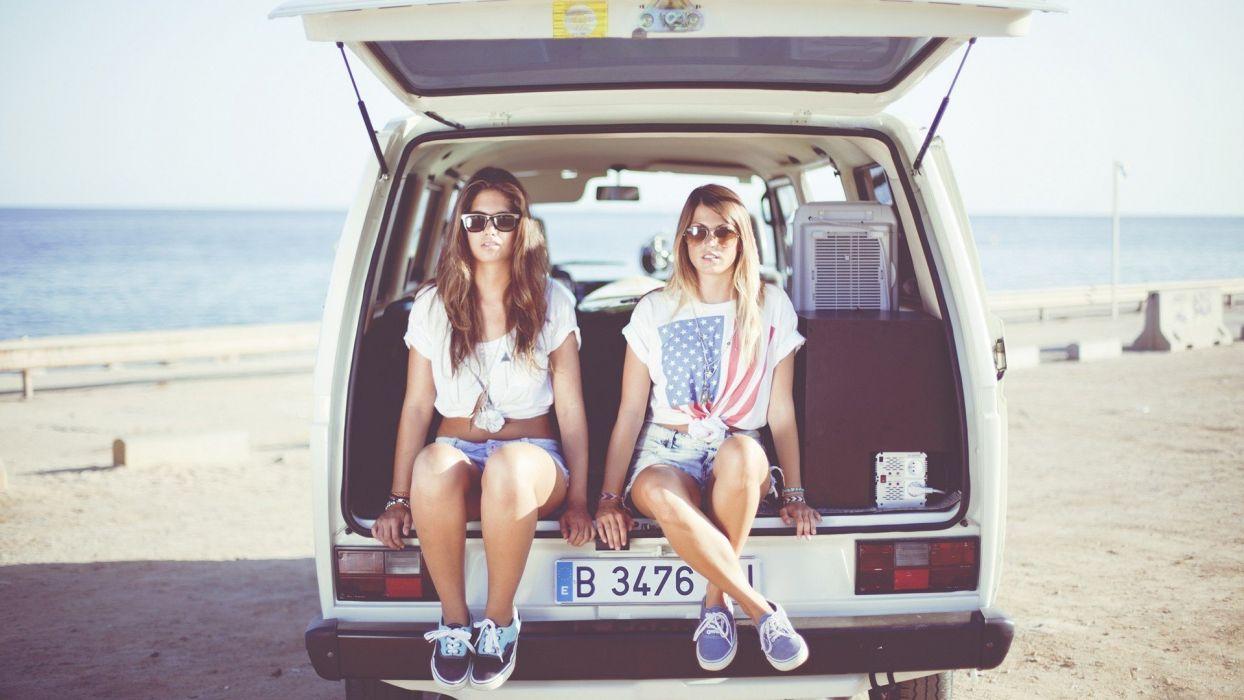 brunettes women beach girls girls with cars models wallpaper