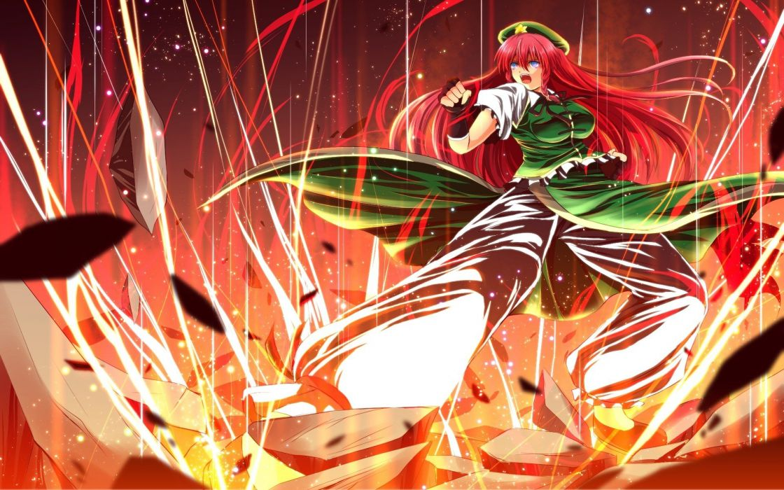 pants video games Touhou gloves dress blue eyes redheads stones destruction long hair ribbons open mouth braids lightning action Hong Meiling hats anime girls green dress hair ornaments fighting stance bangs Chinese clothes fingerless gloves black gloves  wallpaper