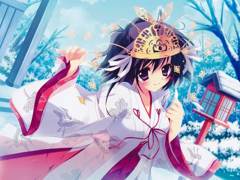 Miko game CG Izumi Tsubasu anime girls Mashiroiro Symphony wallpaper