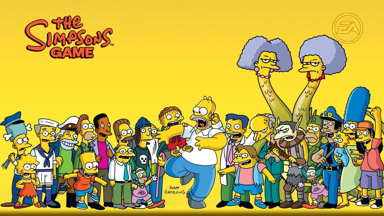 Homer Simpson The Simpsons Bart Simpson Lisa Simpson Mr_ Burns Ned Flanders Marge Simpson Dr Nick Ralph Wiggum Krusty the Clown Maggie Simpson yellow background Smithers Moe Szyslak Patty Selma Nelson wallpaper
