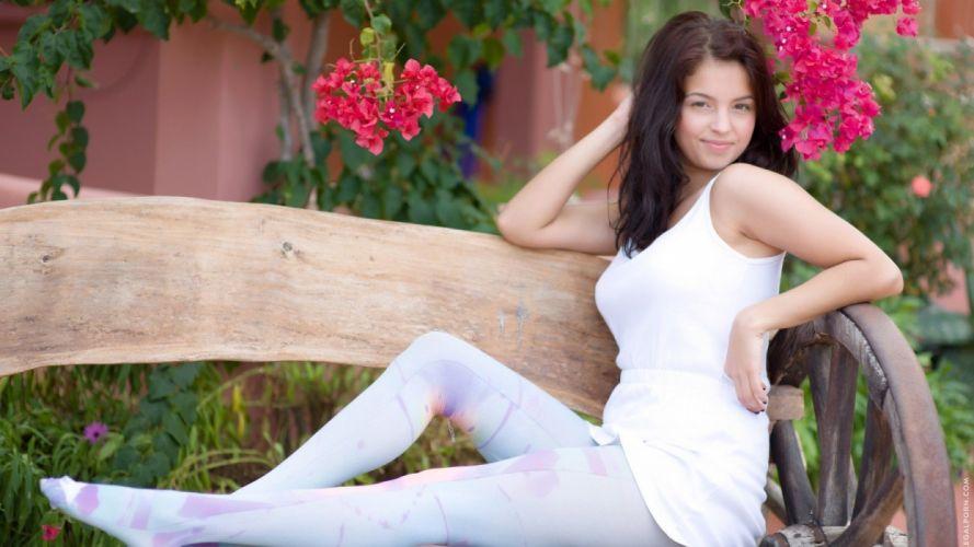 brunettes women outdoors leggings bench white dress Inez wallpaper