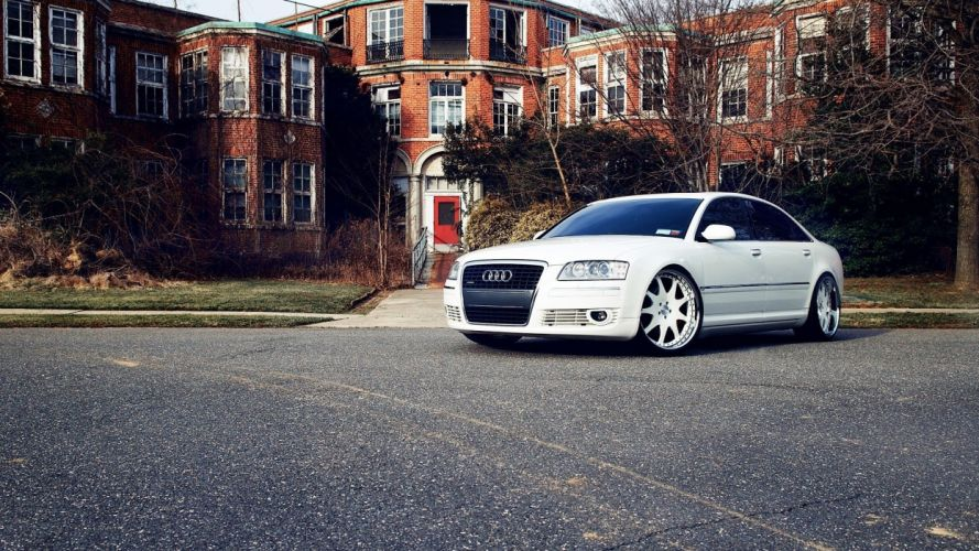 white cars houses roads vehicles tuning Audi A8 wallpaper