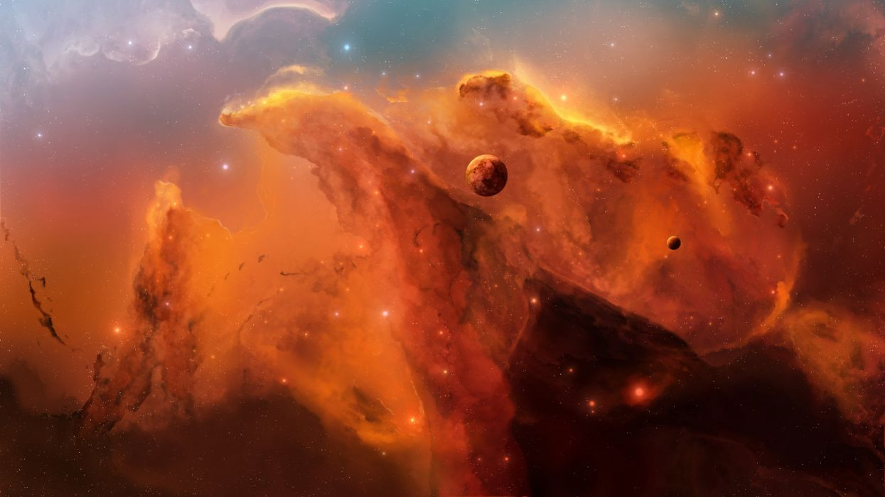 outer space nebulae joejesus josef barton wallpaper | 2560x1440
