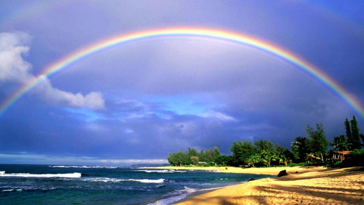 Hawaii rainbows sea beaches wallpaper