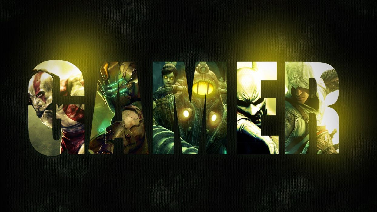 Assassins Creed BioShock wall typography Dead Space God of War digital art Batman Arkham City Gamer wallpaper