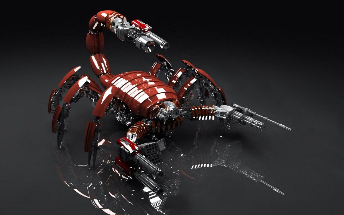 3D view mechanical scorpion wallpaper