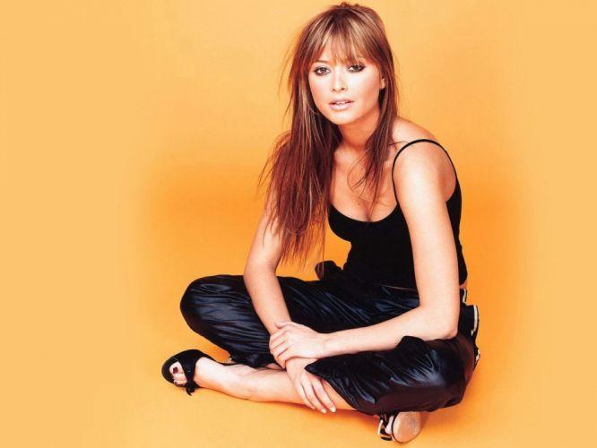brunettes women high heels black dress orange background wallpaper
