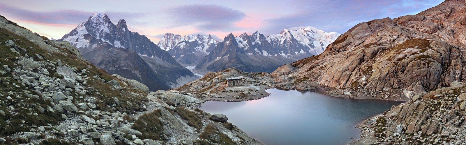 sunrise mountains snow rocks Europe panorama lakes Alps Mont Blanc wallpaper