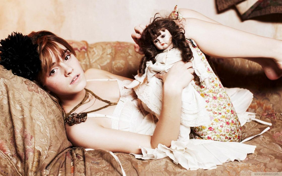 women Emma Watson white dolls puppet wallpaper
