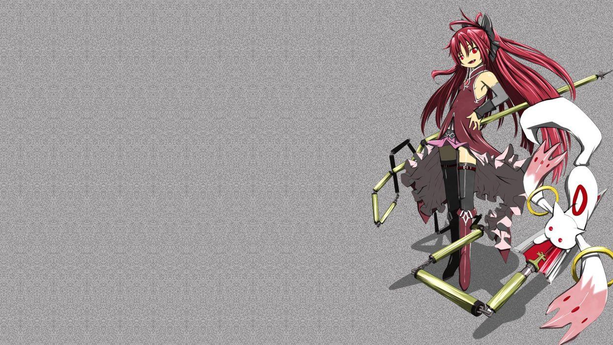 redheads weapons red eyes Mahou Shoujo Madoka Magica Sakura Kyouko anime anime girls Kyubey wallpaper